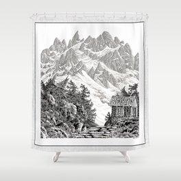 BEYOND MOUNT SHUKSAN BLACK AND WHITE VINTAGE PEN DRAWING Shower Curtain