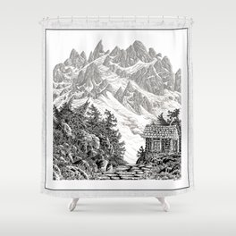 BEYOND MOUNT SHUKSAN BLACK AND WHITE VINTAGE PEN DRAWING Shower Curtain