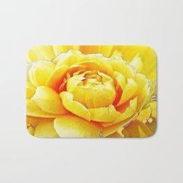 Yellow Rose Western Style Abstract Art Bath Mat