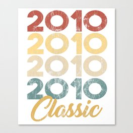 Vintage Classic 2010 Shirt 8th Birthday Party Celebration Gifts Canvas Print