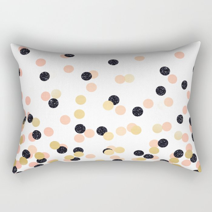 Pink & Black Polka Dots Rectangular Pillow