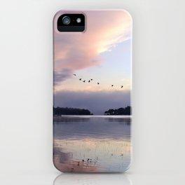 Uplifting: Geese Rise at Dawn on Lake George iPhone Case