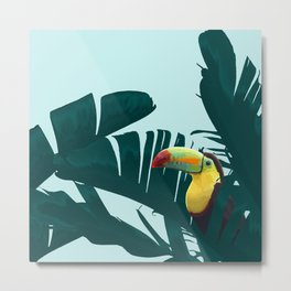 Green Toucan Tropical Banana Leaves Pattern Metal Print