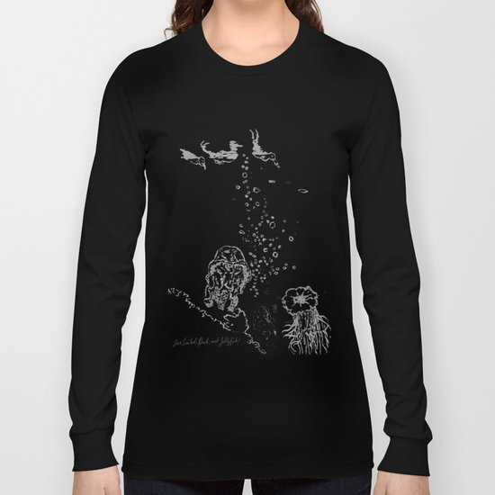 Two Tailed Duck and Jellyfish Black and Dark Deep Sea Long Sleeve T-shirt