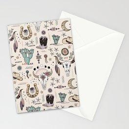 Boho Tribal Cowgirl Ephemera - cream Stationery Cards