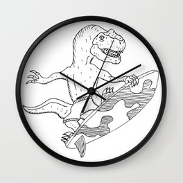 Surfing Velociraptor Wall Clock
