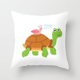 Cute Snail Riding Turtle Animal Friends Throw Pillow