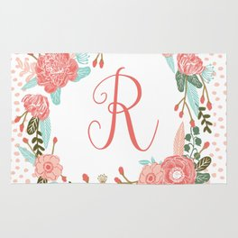 Monogram R - cute girls coral florals flower wreath, coral florals, baby girl, baby blanket Rug