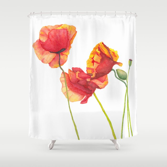 Watercolor Poppies Shower Curtain