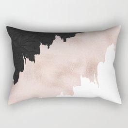 Modern black lace pink rose gold brushstrokes Rectangular Pillow