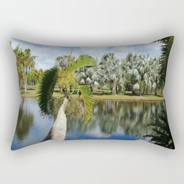 Palm Reflection - Tropical Garden Pond Rectangular Pillow