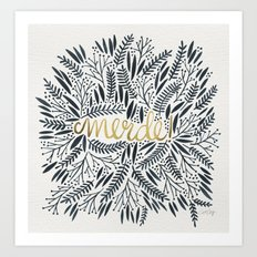 Pardon My French – Black & Gold Art Print