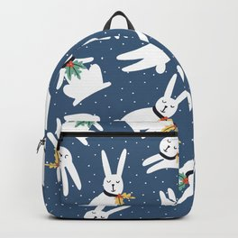 Winter cute rabbits sleep. Vintage Christmas and New Year hand drawn illustration pattern Backpack