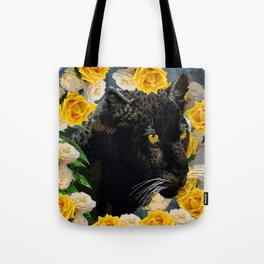 BLACK PANTHER AND YELLOW ROSES Tote Bag