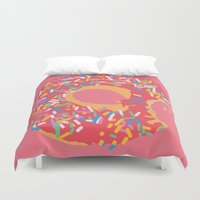 doughnut Duvet Covers featuring Doughnut by Fischerboy