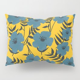 Blue Flowers with Banana Leaves with Yellow Pillow Sham