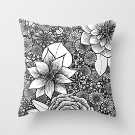 Nouveau Inspired Flowers Throw Pillow