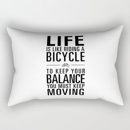 Life is like riding a bicycle. White Background. Rectangular Pillow