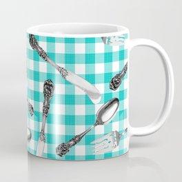 Utensils on Turquoise Picnic Blanket Coffee Mug