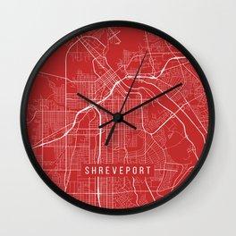 Shreveport Map, USA - Red Wall Clock