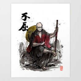 Samurai Captain Picard Parody/Crossover with Japanese Calligraphy Art Print