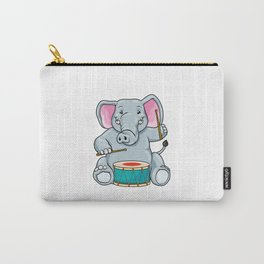 Funny elephant is playing the drum Carry-All Pouch