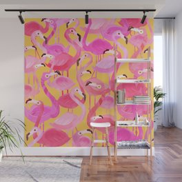 Flamingo pattern orange Wall Mural