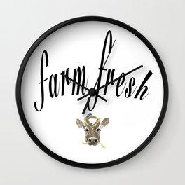 Farm Fresh Cow Art Wall Clock