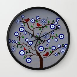 Lucky Evil Eye Bird Tree Wall Clock