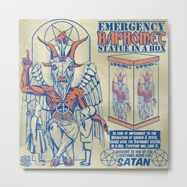 Baphomet Statue in a Box Metal Print