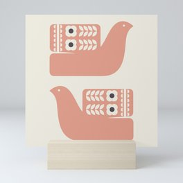 Beige And Pink Birds Mini Art Print