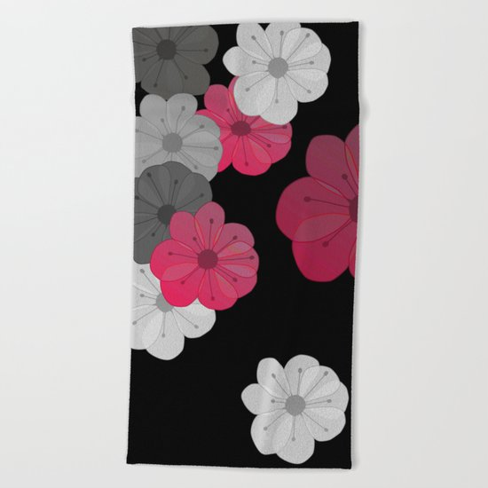 Pink and Black Flowers Design Beach Towel