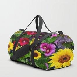 ENGLISH HOLLYHOCKS & SUNFLOWER GARDEN Duffle Bag