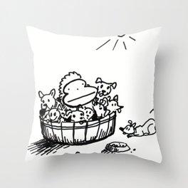 Ape in a Bushel of Puppies Throw Pillow