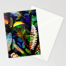 Colourful Feathers On Dark Navy Seamless Pattern Stationery Cards