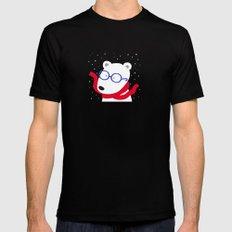 Hipster Polar Bear Mens Fitted Tee Black MEDIUM