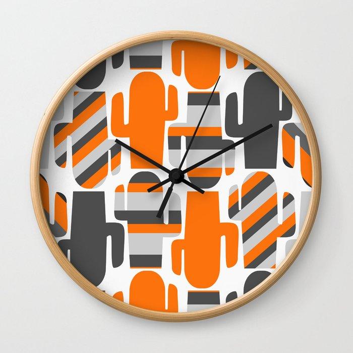 Modern striped cacti Wall Clock