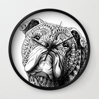 english bulldog Wall Clocks featuring English Bulldog by BIOWORKZ