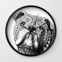 Wall Clocks featuring English Bulldog by BIOWORKZ