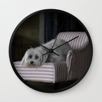 sofa Wall Clocks featuring Me and My Sofa by Anthony M. Davis
