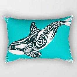 Orca Killer Whale Teal Tribal Tattoo Rectangular Pillow