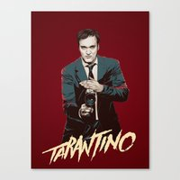 quentin tarantino Canvas Prints featuring Quentin by CromMorc