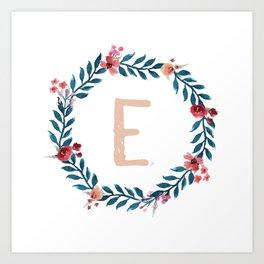 Watercolor Monogram Wreath Letter E Art Print