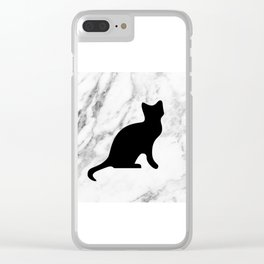 Marble black cat Clear iPhone Case