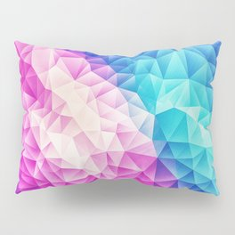 Pink - Ice Blue / Abstract Polygon Crystal Cubism Low Poly Triangle Design Pillow Sham