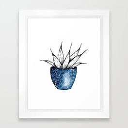 Galaxy Plant | Ink and Watercolor Framed Art Print