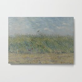 Wheatfield with Partridge Metal Print