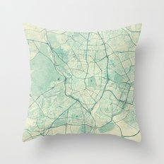 Madrid Map Blue Vintage Throw Pillow