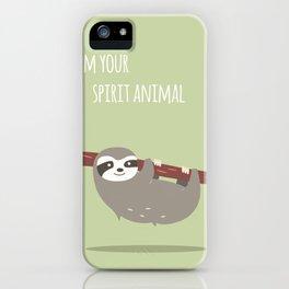 Sloth card - I'm your spirit animal iPhone Case