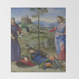 """Raffaello Sanzio da Urbino """"Vision of a Knight (The Dream of Scipio or Allegory)"""", circa 1504-1505 Throw Blanket"""